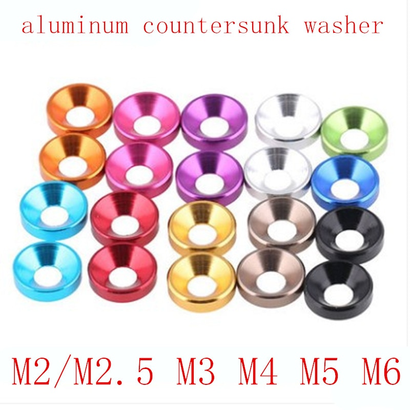 10pcs/lot aluminum washer m2 m2.5 M3 M4 M5 M6 colourful Anodized Countersunk Head Bolt Washers Gasket