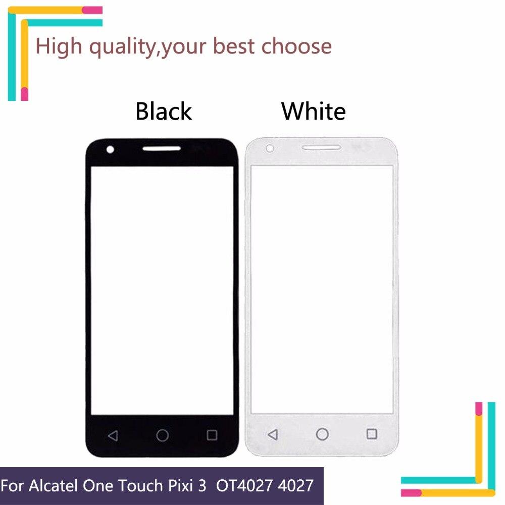 "4,5 ""para Alcatel One Touch Pixi 3 4027D 4027X 5017 5017E VF795 OT4027 4027 velocidad inteligente 6 lente frontal de cristal exterior táctil NO flexible"