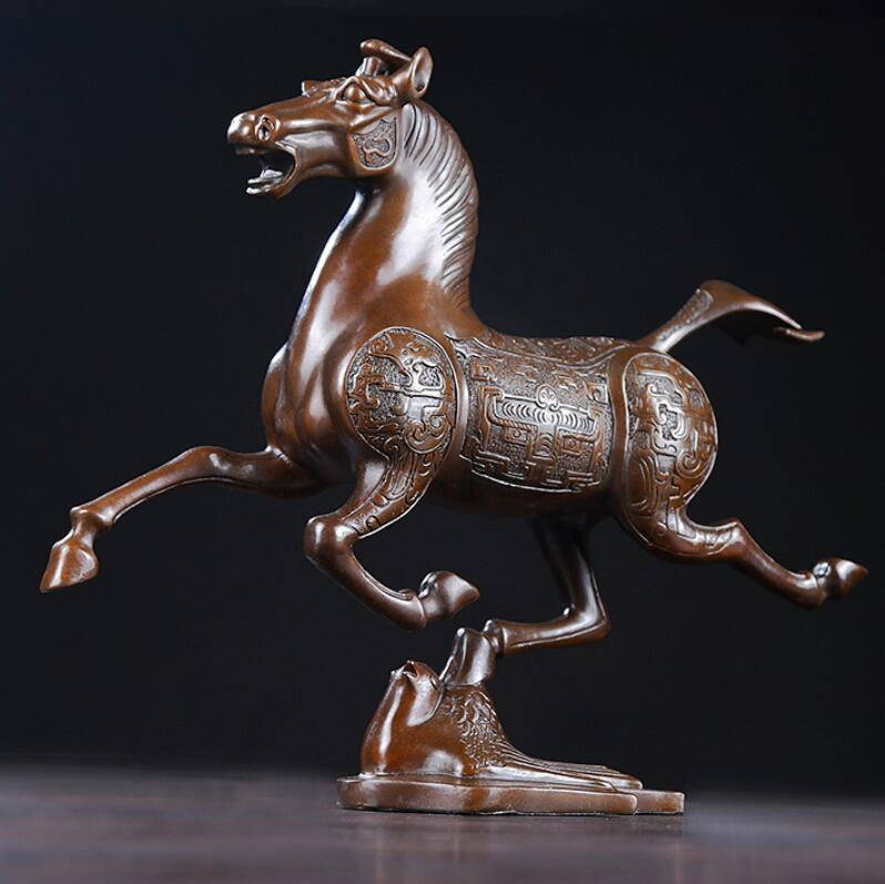 Vajilla de bronce con rodadura Ma Fei yan estatua de caballo de cobre decoración del hogar estatuas de artesanías accesorios regalos