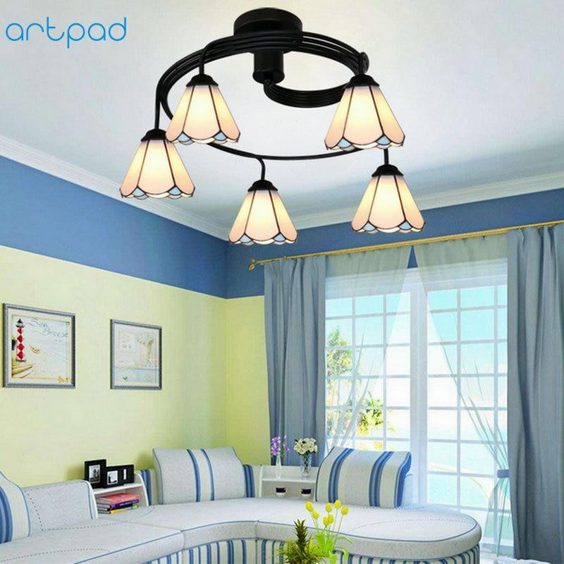 Artpad Tiffany Flower Vintage Chandelier Lamp Colored Glass Ceiling Lamps Kids Bedroom Dining Room Kitchen Chandelier Lighting