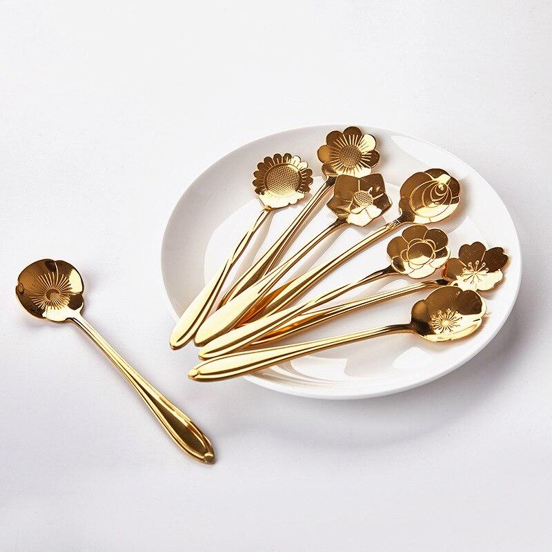 Vajilla a la moda cubiertos utensilios de cocina 8 piezas/Sets regalos en forma de pétalo acero inoxidable para personas vajilla juegos de vajilla