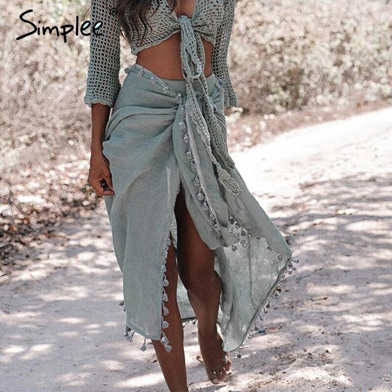 Simplee-chal sexi para mujer, sarong con borlas, ropa de playa de estilo veraniego, chales elegantes para mujer, traje de baño 2019