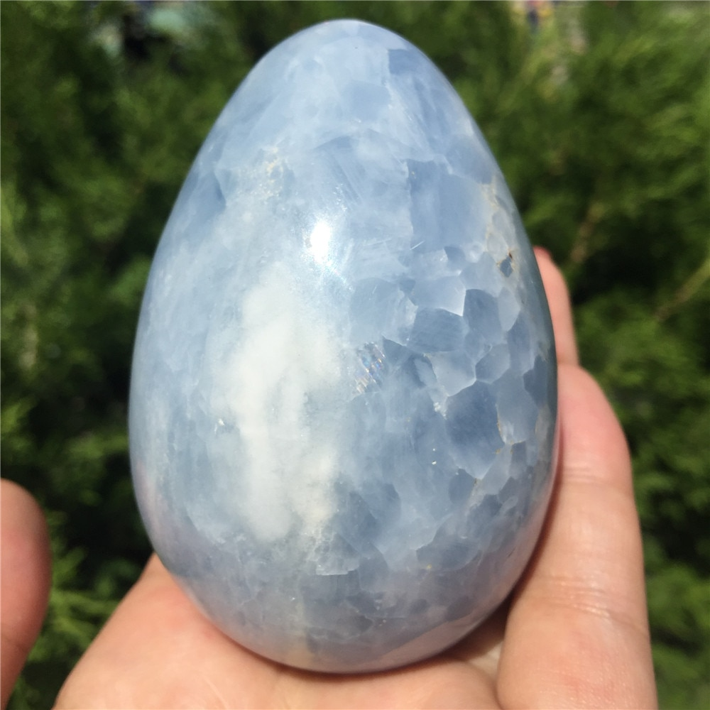 Natural Blue Kyanite Crystal Egg Gemstone Massage Yoni Egg Crystal Reiki Healing Chakra Stone As Gift  1pcs