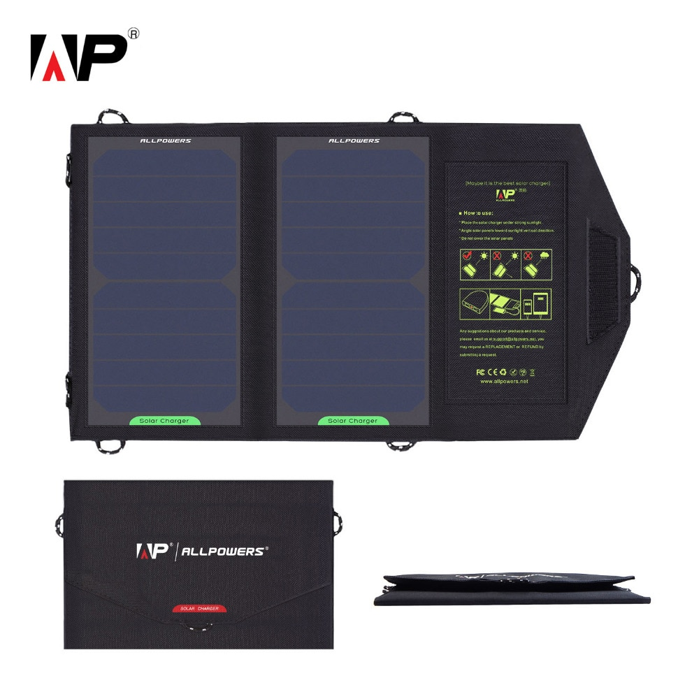 ALLPOWERS Solar Panel Charger USB Output 5V 10W Waterproof Backpack Mobile Power Bank for Phone Battery Foldable Solar Cells