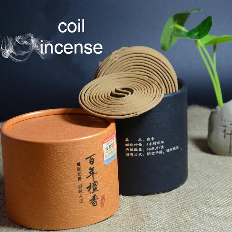 Fragancia de incienso de sándalo Natural bobina de incienso especia antiséptica refrescante 48 bobinas por caja jazmín Rosa Magnolia E $
