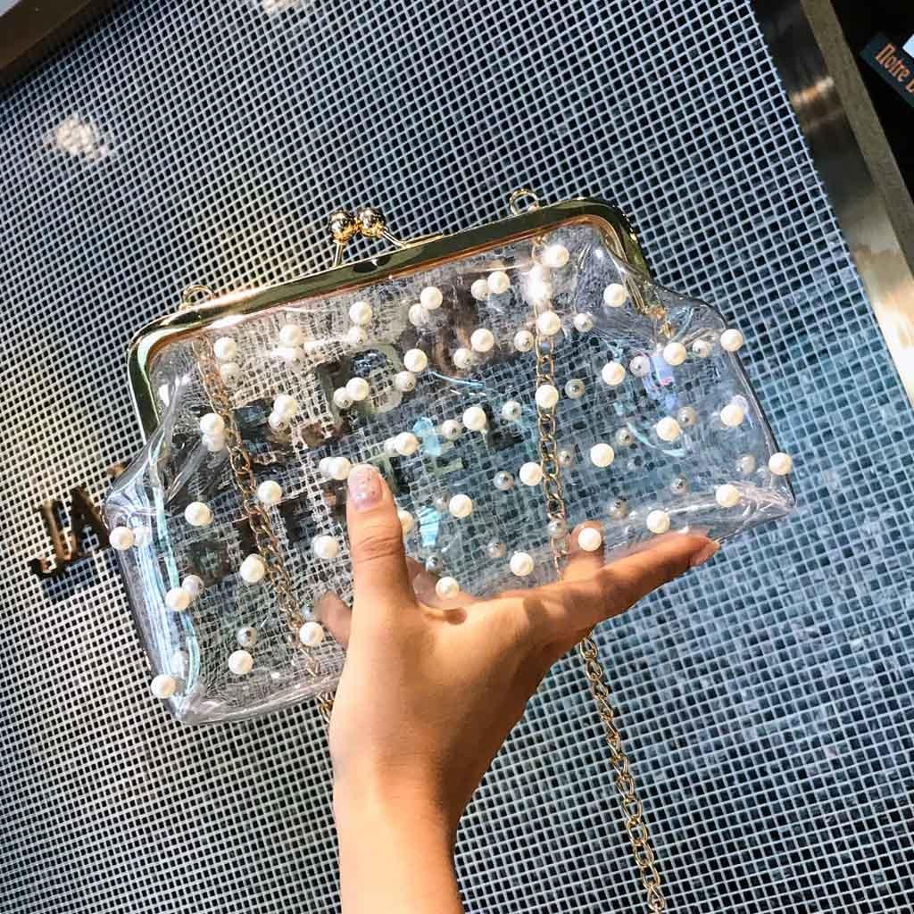 Bolso de hombro INS transparente para Mujer, Bolso de mano transparente con perlas para fiesta, Bolso con fecha de salida, gran oferta