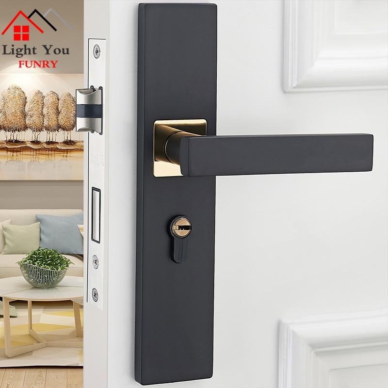 قفل باب على الطراز الأوروبي ، قفل باب داخلي لغرفة النوم ، مقبض باب خشبي أسود للحمام ، قفل باب منزلي صامت