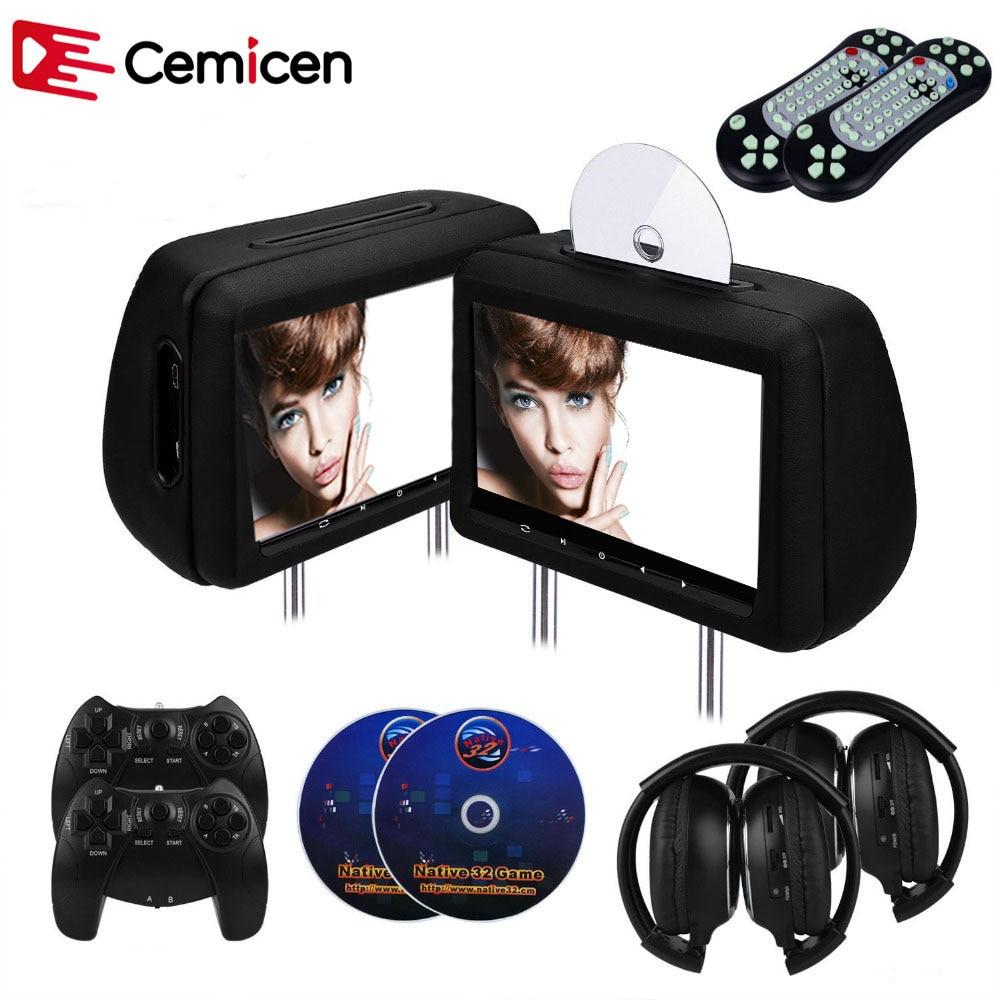 Cemicen 2 шт., монитор для подголовника автомобиля 10,1 дюйма, dvd-плеер, видео плеер с FM/IR трансмиттером/USB/SD (MP5)/беспроводная игра/HDMI порт/геймпад