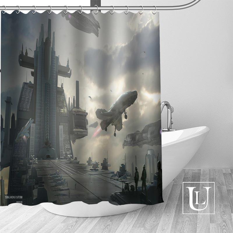 Gran venta nueva cortina de Ducha moderna Citizen estrella personalizada con ganchos baño impermeable tela de poliéster