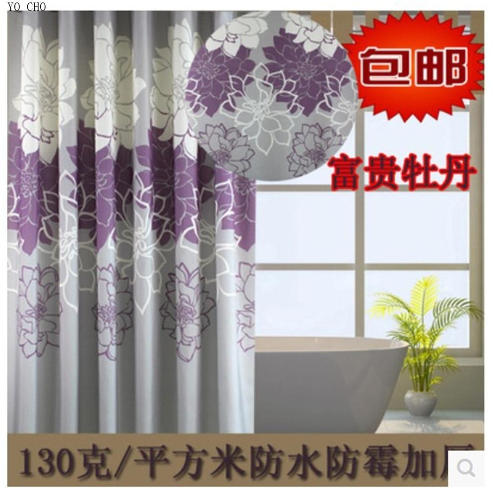 Cortina de ducha de poliéster de baño de alta calidad de peonía púrpura 2014