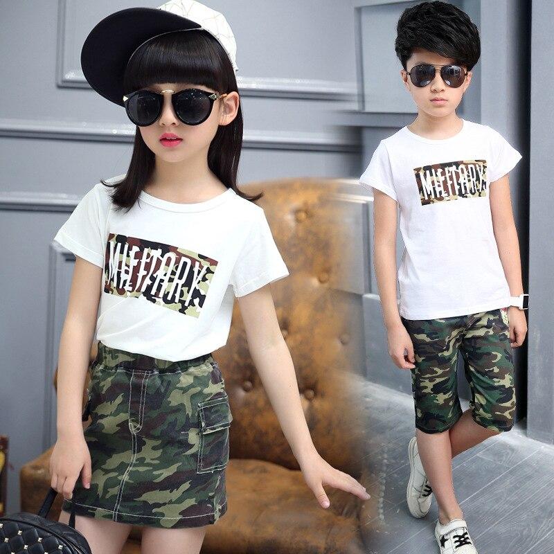 Ropa de niña y niño adolescentes camiseta con letras blancas + falda de camuflaje y pantalones cortos de camuflaje 4-12 y conjunto de ropa para niños