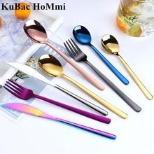 KuBac Hommi 24Pcs Shiny Rainbow Dinnerware Set Stainless Steel Smooth Gold Cutlery Set Mirror Black Dinnerware Set Purple