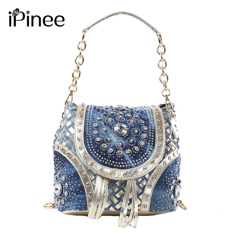 IPinee الذهب/الشظية موضة السيدات حقيبة يد مصمم نسج نمط شرابة حقائب كتف المرأة