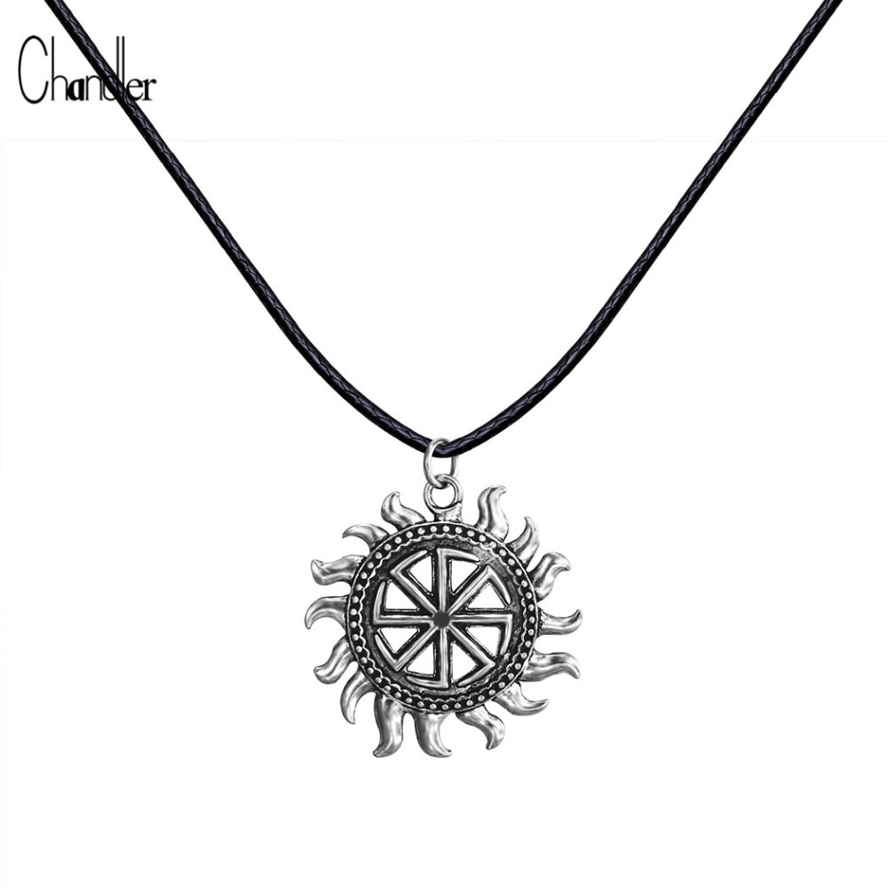 Son of Sun Sloar Kolovrat Slavic Amulet Pendant Necklace Black Leather Rope Chain Viking Male Jewelry For Boyfriend Gifts