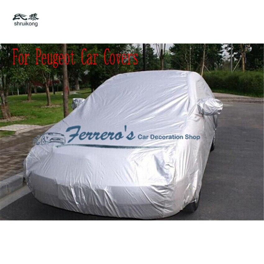 Cubiertas impermeables para coche, protección resistente al sol, UV, nieve, polvo, lluvia, gris para Peugeot 206 207 301 307 308 408 508 3008 RCZ