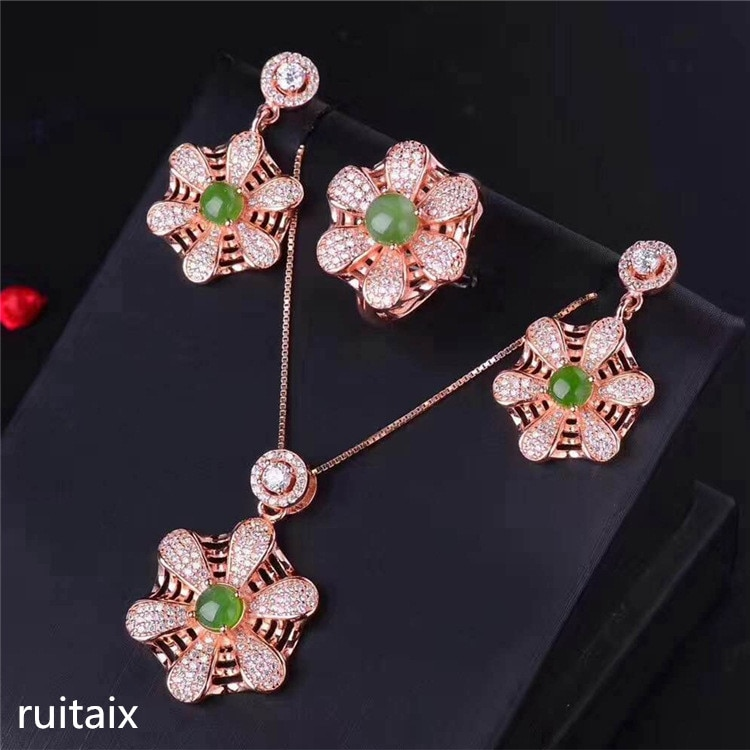 KJJEAXCMY boutique jewels S925 Pure silver inlay natural jasper pendant necklace ring earrings 3 sets of spider web type female