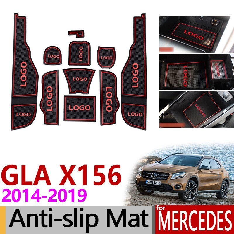 Alfombrilla de goma antideslizante para ranura de puerta para Mercedes Benz GLA X156 GLA180 GLA200 GLA220 GLA250 GLA45 200 220 250 200d 220d, accesorios