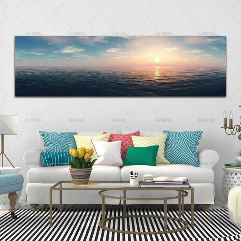 Landcape cópia da arte da pintura da lona do retrato da parede e cartazes para o mar e sunreise Pintura da arte da parede decoração para sala de estar