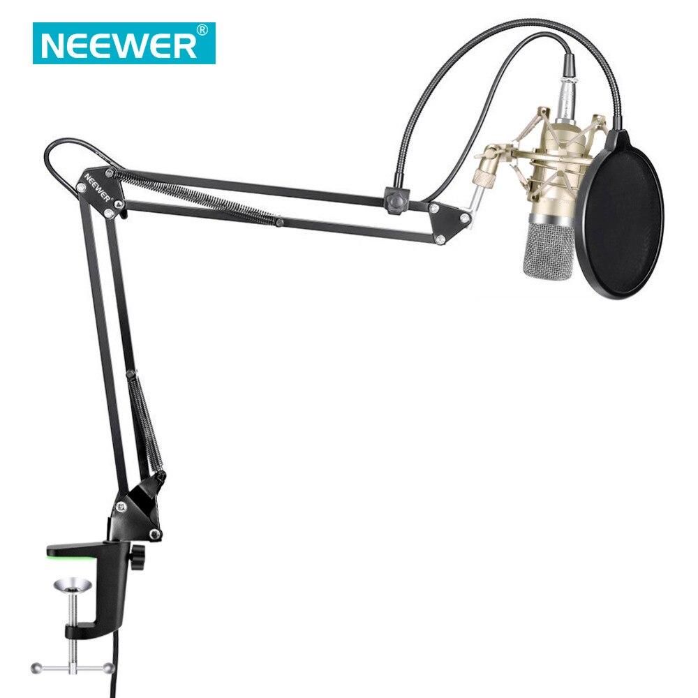 Nuevo NW-700 Kit de micrófono con condensador NW-35 Boom tijera brazo de soporte con montaje de choque de grabación de estudio de alimentación de 48V