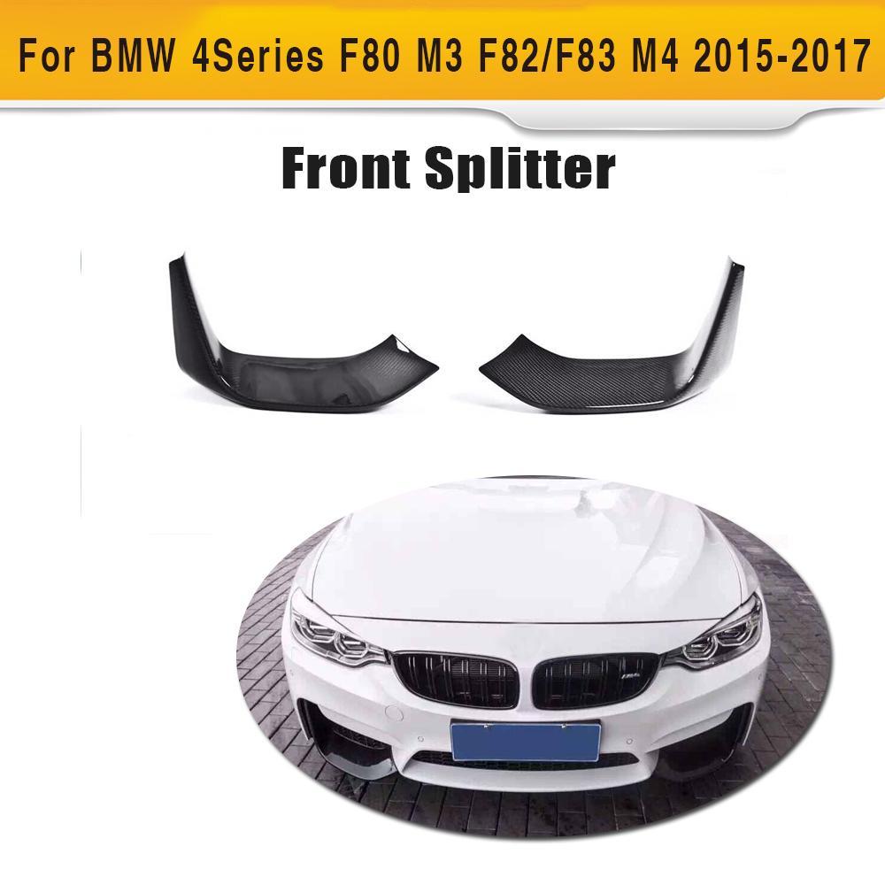 Carbon Fiber Car Front Bumper Splitter Spoiler for BMW F80 M3 F82 F83 M4 2 Door 2015 2016 2017 Convertible Car Sticker