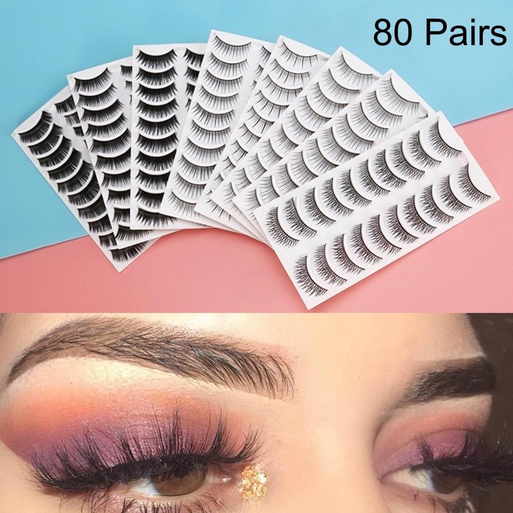 80 pares 8 Estilos Natural Eye Lashes Macio Clássico Handmade Cílios Postiços Cruz Longo Cílios Extensão Eye Makeup Tools