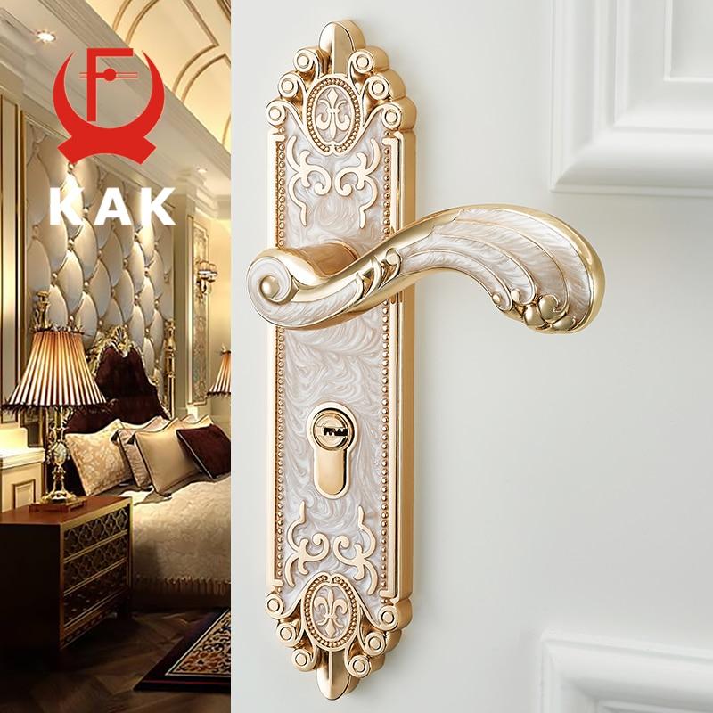 KAK European Style Mute Room Door Lock Handle Fashion Interior Door Knobs Lock Luxurious Anti-Theft Gate Lock Furniture Hardware