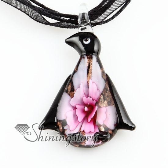 Penguin flower inside murano glass neckalce pendants jewelry cheap ladies jewellery handmade fashion jewelry
