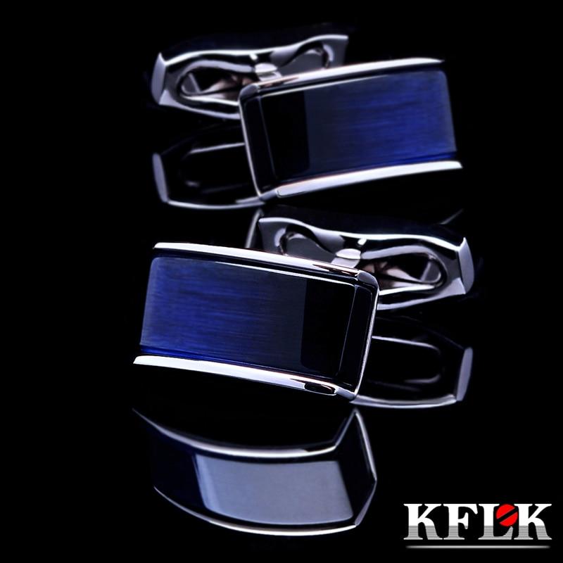 KFLK Jewelry shirt cufflinks for mens Brand buttons cuff links Blue black gradual gemelos High Quality abotoaduras guests