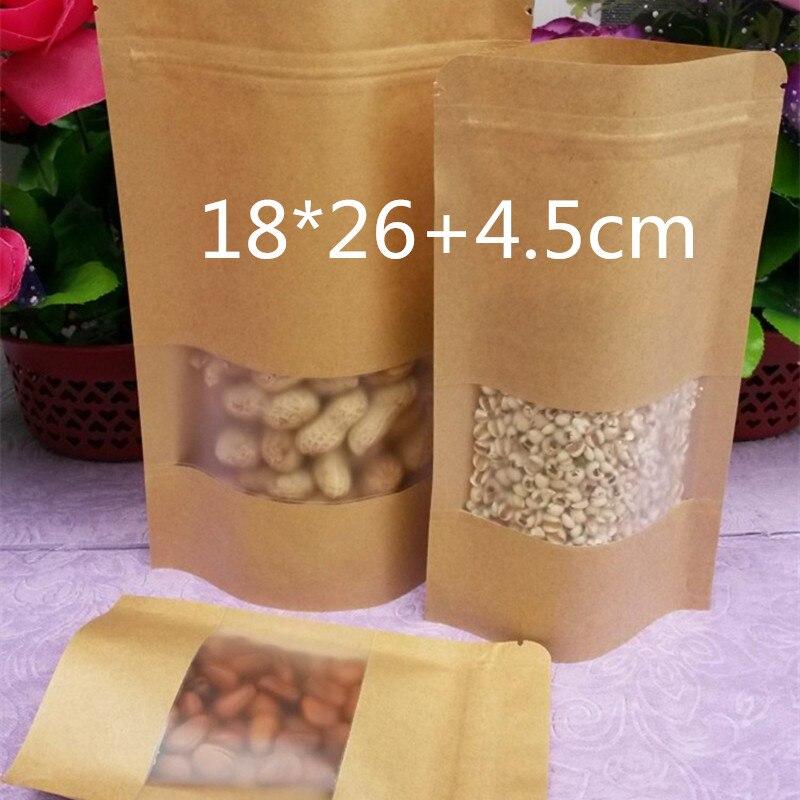 100 Peças 18*26 + 4.5 cm Resealable Sacos Do Presente Saco de Embalagem Marrom Sacos De Papel Kraft para o Chá