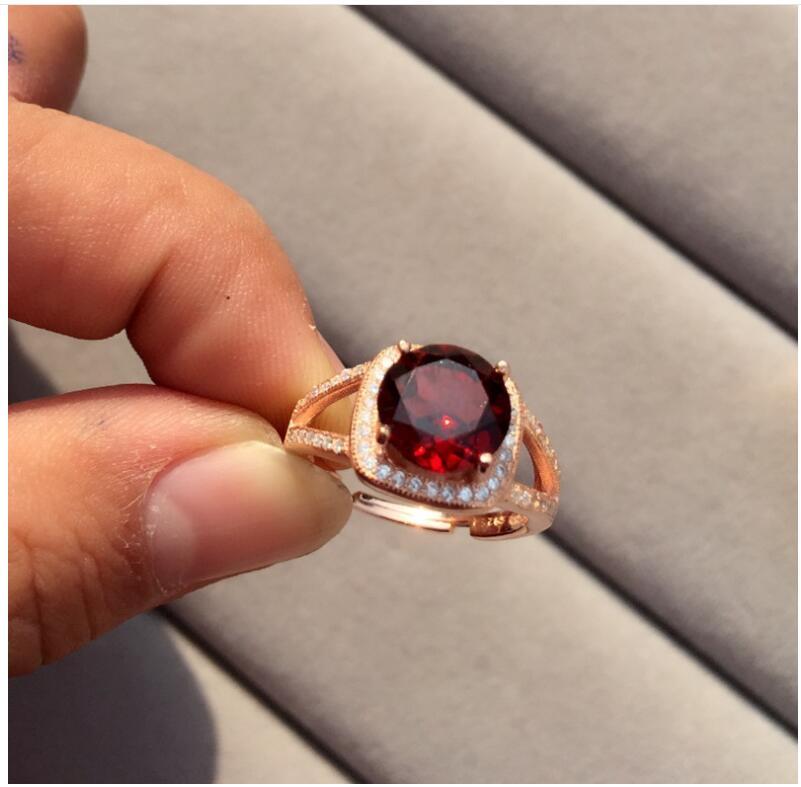 العقيق الدائري شحن مجاني الطبيعية ريال العقيق الأحمر 925 فضة غرامة مجوهرات جوهرة 9 مللي متر