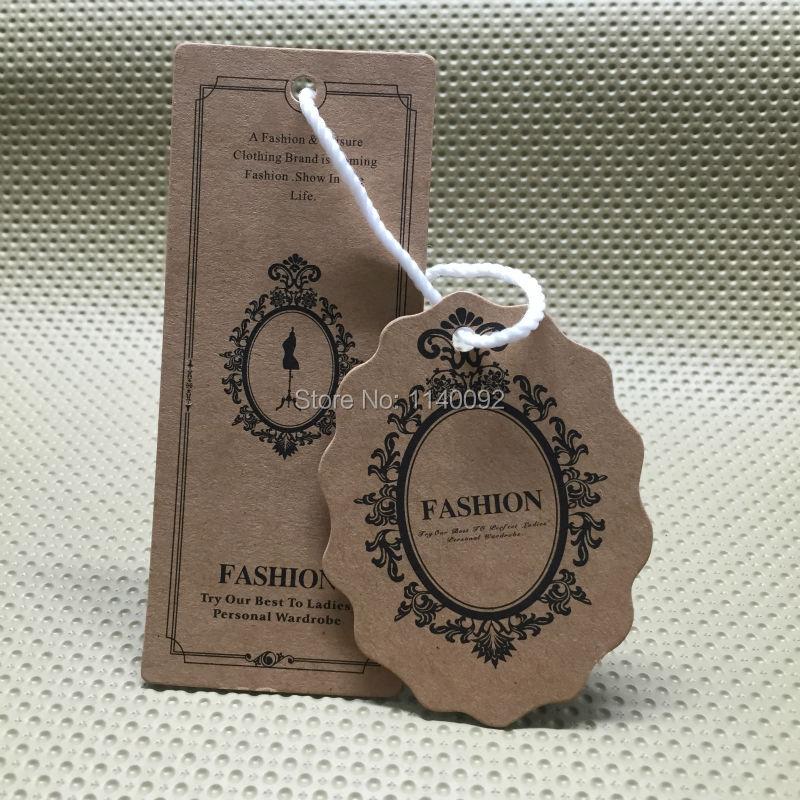 Personalizar a forma de corte de etiquetas/vestuário oval papel kraft pendurar tags/vestuário etiquetas impressas/etiquetas de papelão/roupas etiqueta/marca