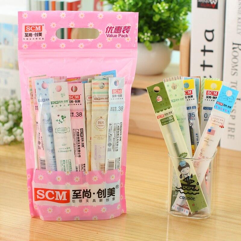 50 unids/lote SCM Corea creativa papelería escolar repuestos de bolígrafo de Gel Negro Azul Rojo 0,35 0,38 0,5 recargas para bolígrafos para escritura de estudiantes