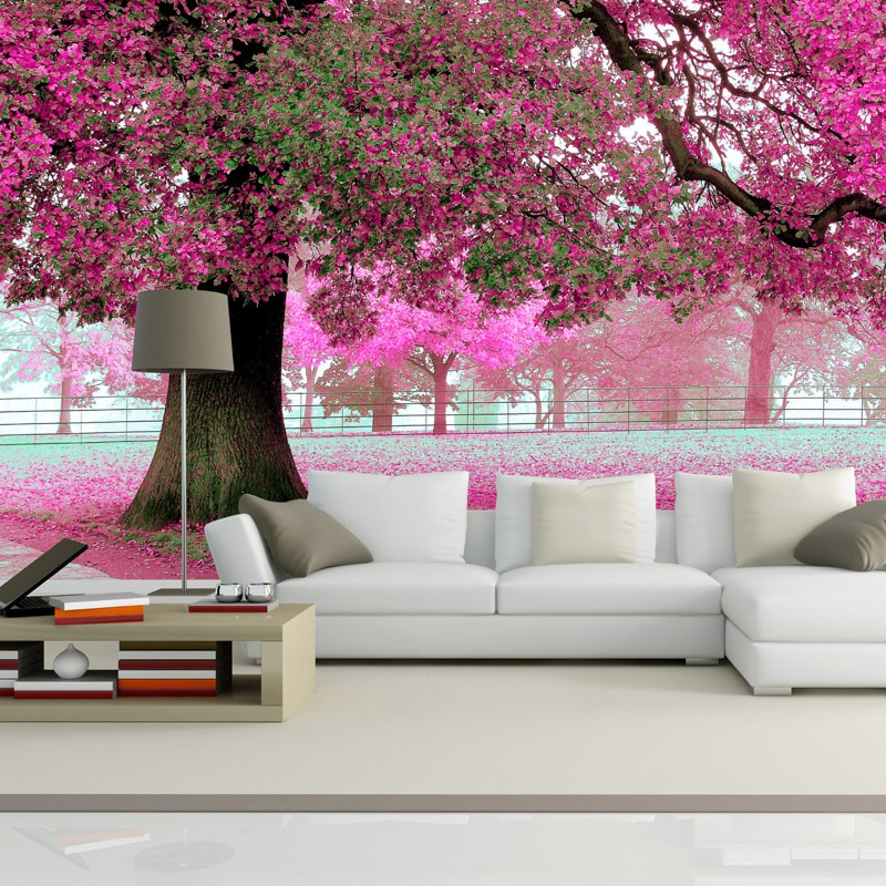 Beibehang, suelo 3d, cereza, árbol, papel pintado fotográfico 3d personalizado, Fondo de TV de paisaje forestal, mural 3d, papel tapiz, papel tapiz