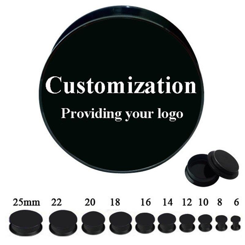 Fabrycznie wykonane na zamówienie czarny akryl śruba tunel zatyczki do uszu wskaźniki 60 sztuk/partia dla 10 rozmiarów 6mm-25mm