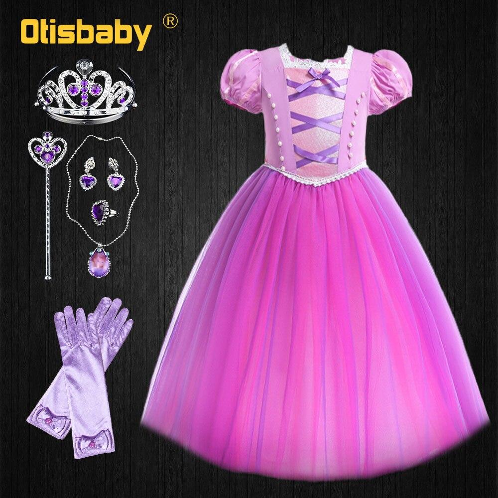 Princesa de cuento de hadas Rapunzel vestido de Halloween traje enredados niño fiesta de noche de verano vestido para niña rosa para niños vestido de tutú florido