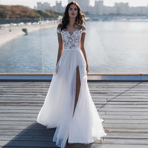 Fashion Scoop Cap Sleeves Bohemian Wedding Dresses with High Slit Illusion Bodice Vestidos de Novia Chiffon Beach Bridal Gown