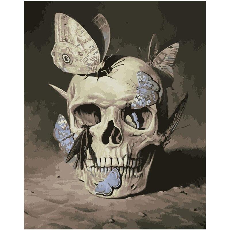 Pintura por números diy dropshipping 40x50x65 cm traça e horror ossos figura lona decoração do casamento arte imagem presente