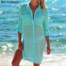 Kadin Kaftan plaj elbise Cover Up uzun gömlek Pareos Sarongs 2018 seksi Bikini katı Cover-Up tunik mayo elbise de Plage beyaz