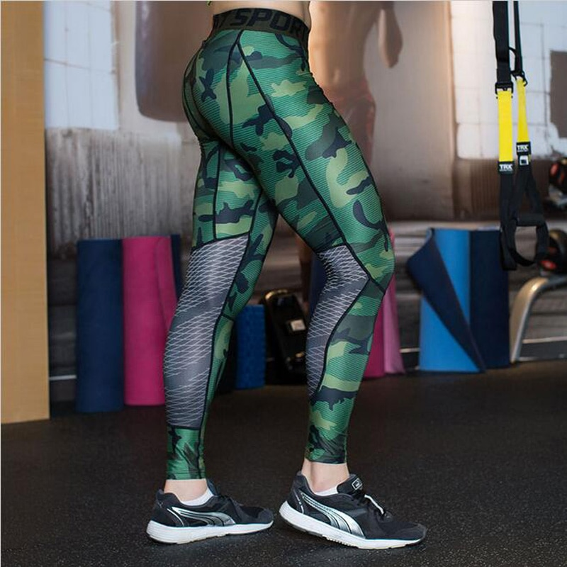 2019 Rushed Camouflage Men Compression Tights New  Pants Lycra Skinny Leggings  Clothing  Fitness