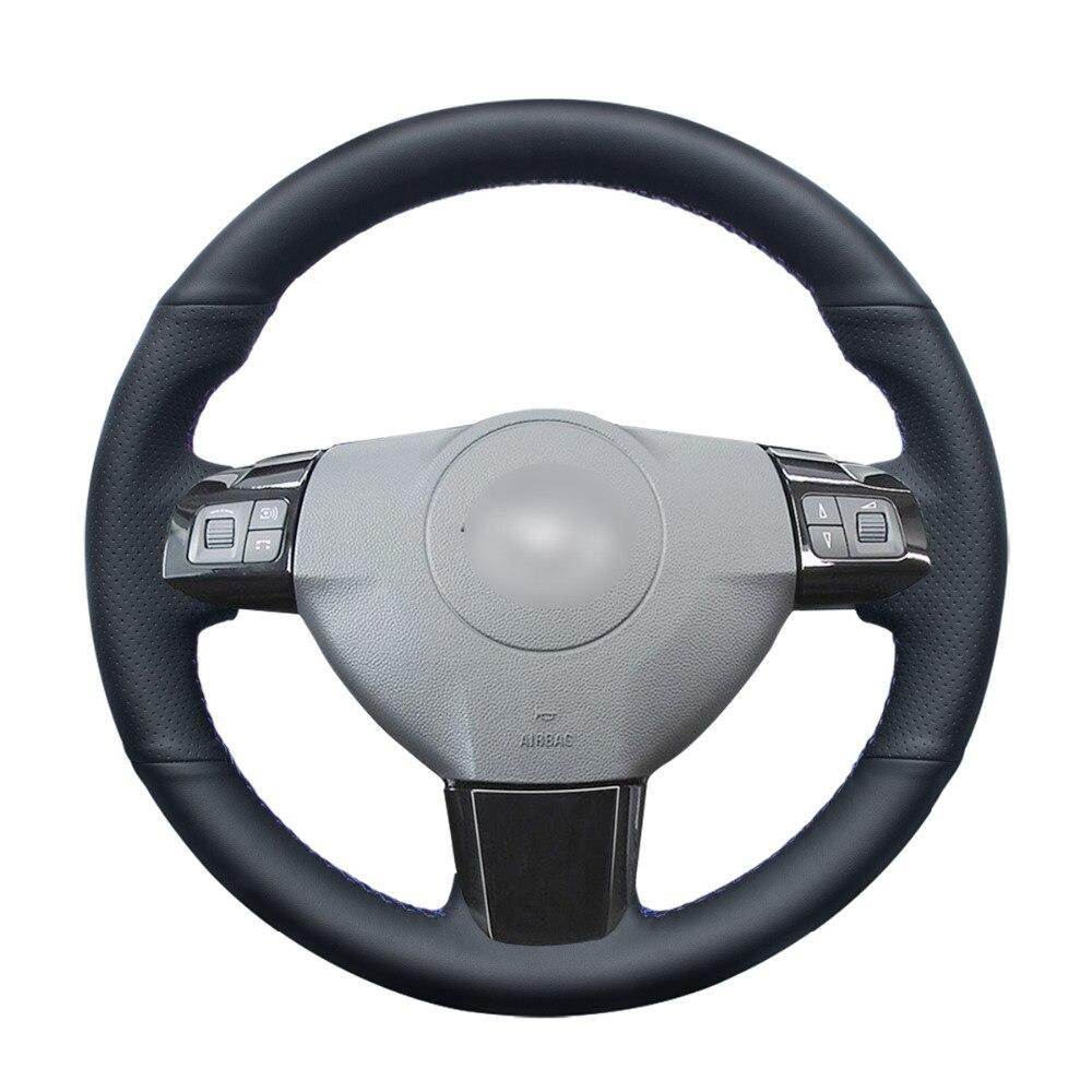 -Negro de punto PU cuero Artificial protector para volante de coche para Opel Astra (H) Zaflra 2004-2009 (B) 2005-2014 Signum 2005