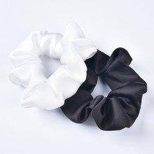 Pince à cheveux noire et blanche en soie   Pince à cheveux, en Satin, élastique, porte-queue de cheval, cadeaux faits à la main