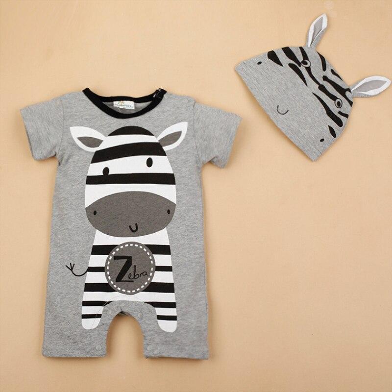 Peleles de manga corta Unisex para niños, conjunto de sombrero de dos piezas con adorable dibujo de bebé y niña, conjunto de trajes de una pieza de cebra para bebé recién nacido