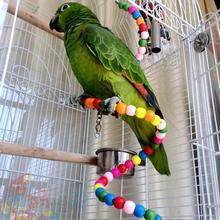 Échelle multicolore en bois pour exercice   Arc-en-ciel perroquet perruche, échelle de jouet Hamster, perles perroquet, Cage de jouets décoration