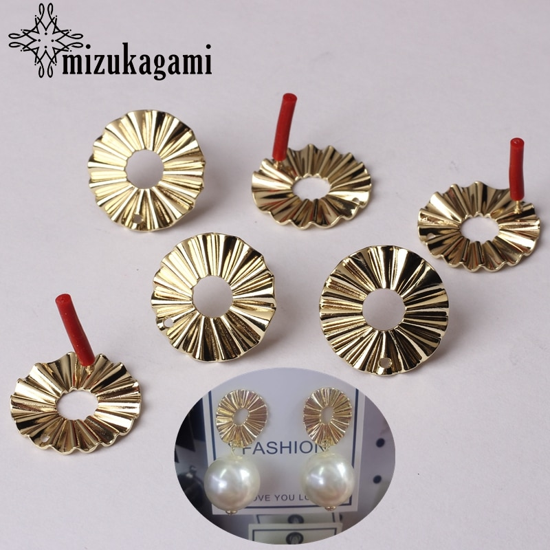 Zinc Alloy Golden Round Circle Shape Base Earrings Connector 21MM 6pcs/lot For DIY Drop Earrings Making Accessories retro resin earrings marble texture round circle ring charms 10pcs lot for diy drop earrings jewelry making accessories