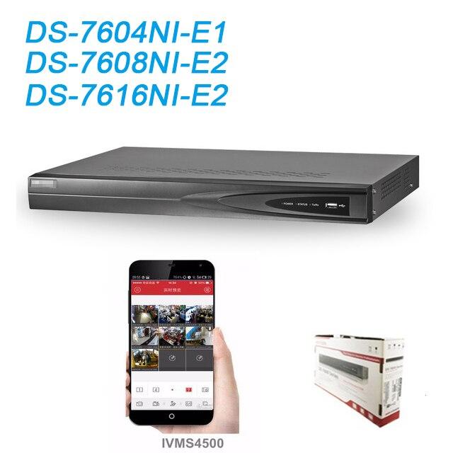 Original HIKVISION NVR 4ch 8CH 16CH DS-7604NI-E1 DS-7608NI-E2 DS-7616NI-E2 até 6 Megapixels gravação gravador de vídeo em Rede