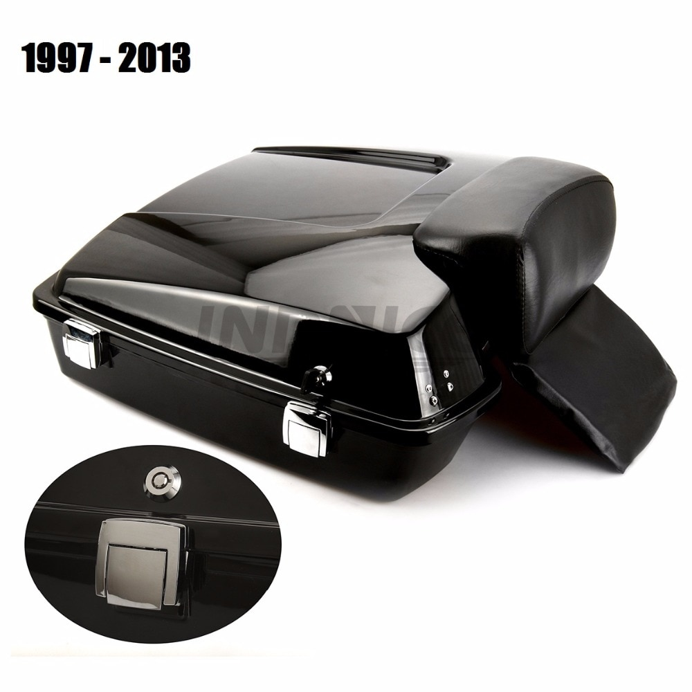 FLHR Razor Tour Pak-علبة حلاقة سوداء لامعة ، صندوق FLHTC مع مسند ظهر لـ harley Road glide Street Glide 1997-2013