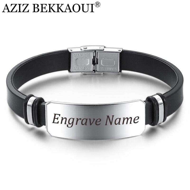 Aziz bekkaoui largo aço inoxidável gravar nome pulseira para homens preto pulseiras pulseira moda masculina acessórios