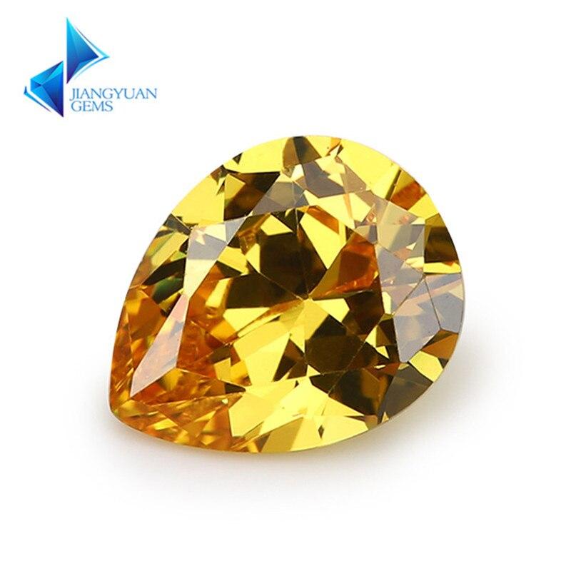 50 Uds en forma de pera 5A de oro piedra amarilla de CZ 2x3-13x18mm gemas sintéticas de Zirconia cúbica para joyería