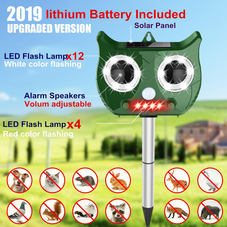 2019 neue Solar Ultraschall Tier Repeller Umfassen 1500 mAh Lithium-Batterie, Wasserdicht Pest Repeller Schlange Katze Hund Vogel Dispeller