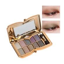 1 Piece Sexy Smoky 10 Color Eye Shadow Palette with Brush Flashing Diamond Shimmer Nude Eye Glitter Eyeshadow Cosmetic Makeup